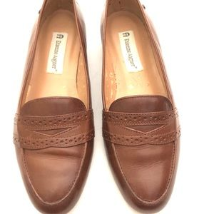 "Etienne Aigner Cognac Leather ""Kathy"" Loafers  7"